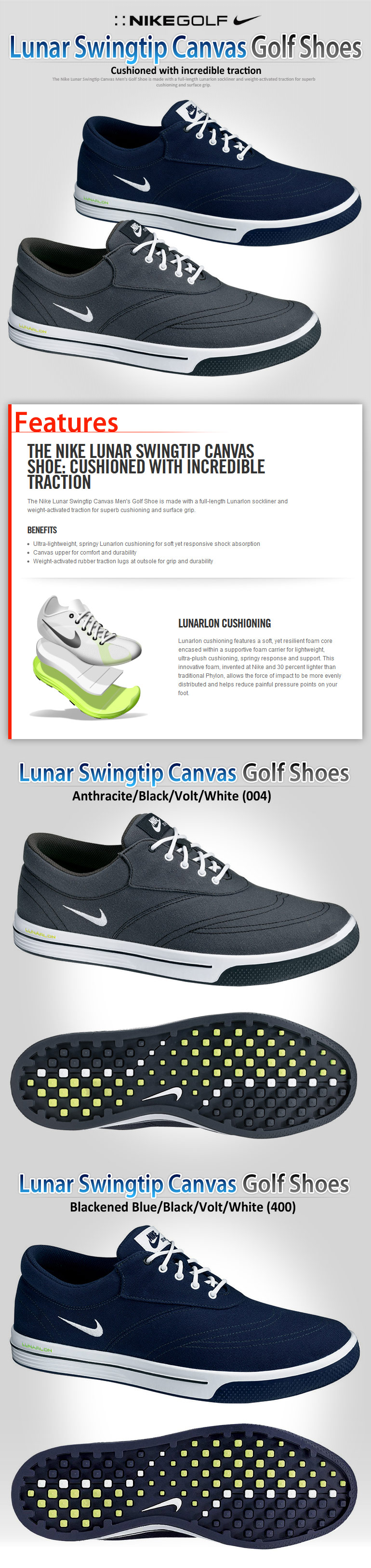 new styles 51b83 8dd44 NIKE Lunar Swingtip Canvas Men s Golf Shoes - Shoes